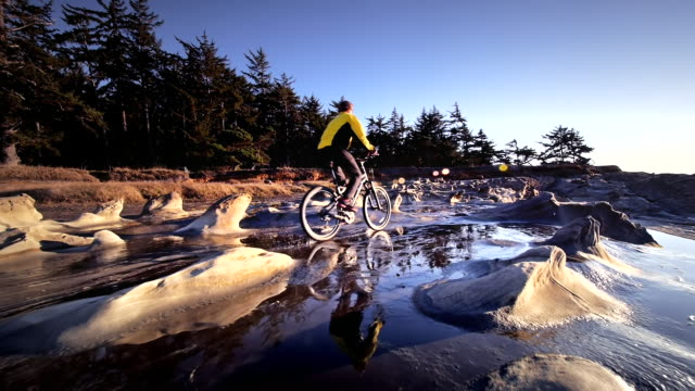 ws pov view of young man riding mountain bike / shore acres state park, oregon, united states  - oregon us state stock videos & royalty-free footage