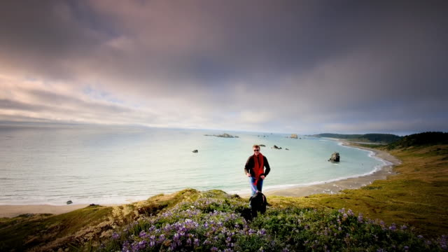 ws slo mo pov view of young man walking his dog on trail by ocean / cape blanco state park, oregon, united states - oregon us state stock videos & royalty-free footage
