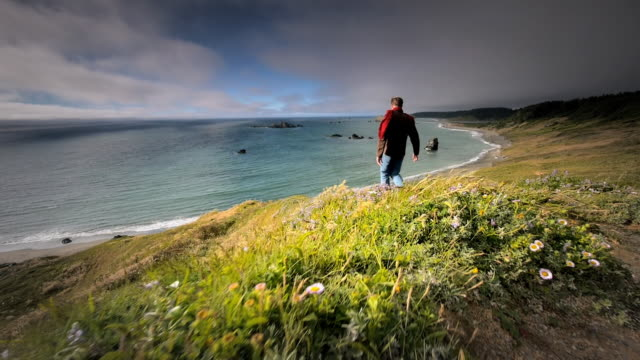 ws slo mo pov view of young man walking on trail by ocean / cape blanco state park, oregon, united states - oregon us state stock videos & royalty-free footage