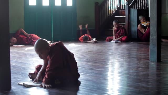 vidéos et rushes de ws view of young monks reading their books, sitting on floor / yangon, yangon division, myanmar  - assis en tailleur
