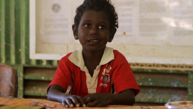 ms view of young tiwi child / northern territory, australia - stamm stock-videos und b-roll-filmmaterial