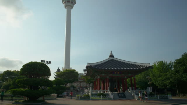 ws t/l view of youngdusan park and tower / busan, south korea  - male likeness stock videos & royalty-free footage