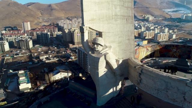 vídeos de stock e filmes b-roll de view of zaisan memorial in ulan bator, mongolia - ulan bator