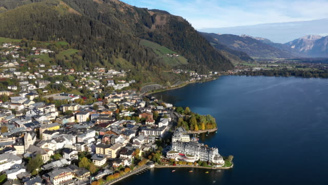 View of Zell am See Village and Lake Zell in European Alps, Austria