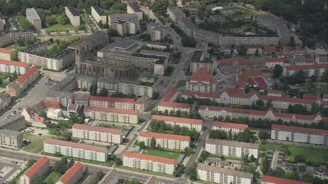 aerial view of zerbst with saint nicholas church, eichsfeld, germany - wohnung stock-videos und b-roll-filmmaterial