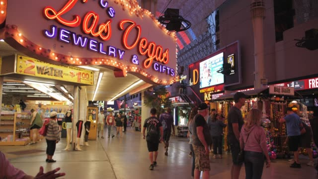 view of zip wire riders on fremont street experience, downtown, las vegas, nevada, usa, north america - the strip las vegas stock videos and b-roll footage