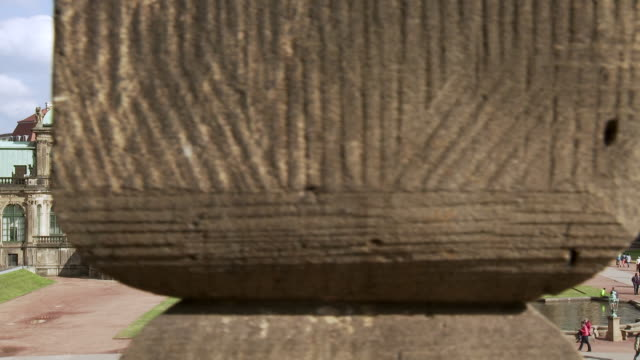 ms pan view of zwingerhof / dresden, saxony, germany - 史跡めぐり点の映像素材/bロール