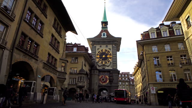 View of Zytglogge Clock Tower in Kramgasse street