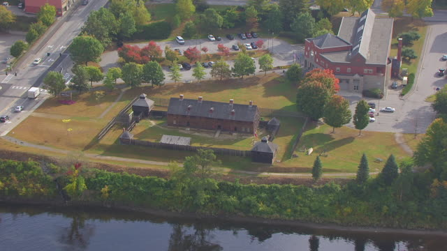 ws aerial pov view old fort western/ augusta, maine, united states - kennebec river stock videos & royalty-free footage