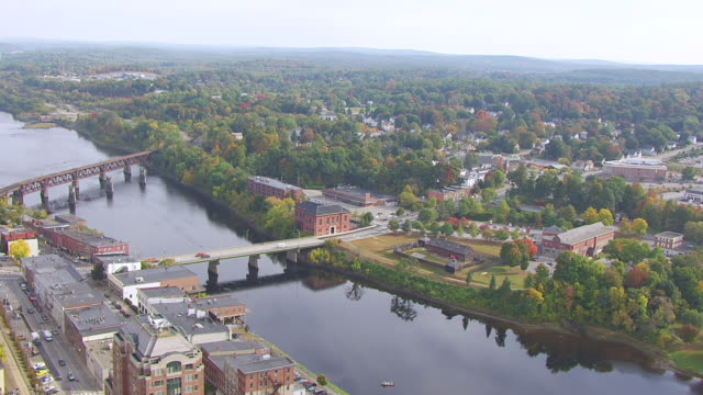 ws zo aerial pov view old fort western with townscape/ augusta, maine, united states - kennebec river stock videos & royalty-free footage