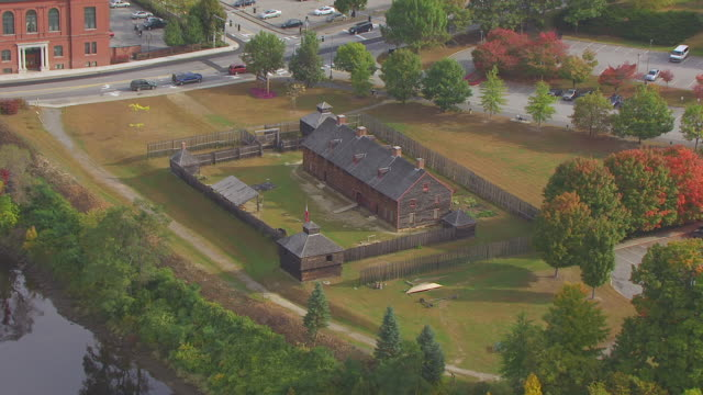 ws aerial pov view old fort western with townscape/ augusta, maine, united states - augusta maine stock videos & royalty-free footage