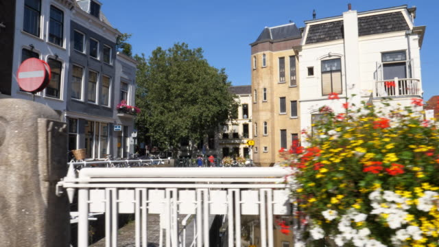 view on city of gouda, the netherlands. - town stock videos & royalty-free footage