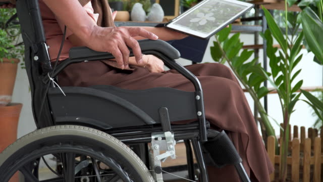 view on couple with wheelchair: lifestyle of asian active senior man with disability woman after retirement. husband having happiness, relaxation with the tropical tree with wife using digital tablet keeping memory in garden as hobbies in the greenhouse. - position stock videos & royalty-free footage