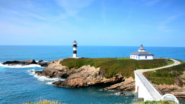 view on pancha island in ribadeo, spain. - galicia stock videos & royalty-free footage