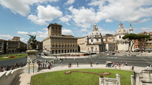 view on piazza venezia from vittorio emanuele monument - piazza venezia stock videos and b-roll footage