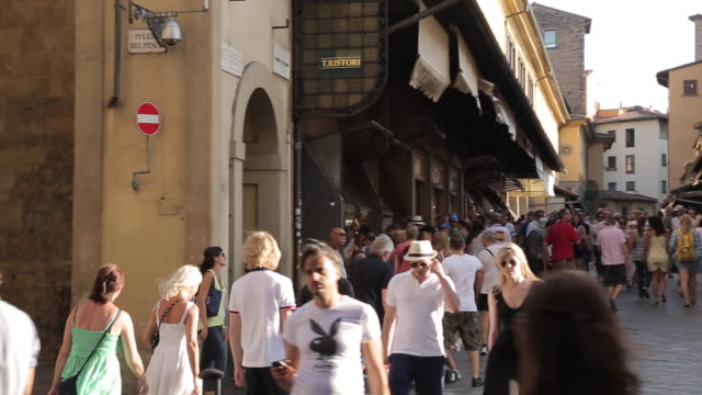 view on ponte vecchio, florence, tuscany, italy, europe - florence italy stock videos and b-roll footage