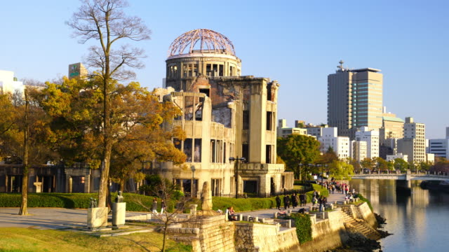 view on the atomic bomb dome in hiroshima japan - hiroshima prefecture stock videos and b-roll footage
