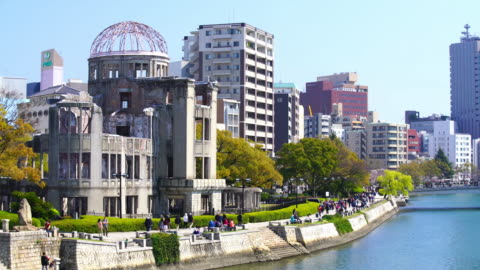 view on the atomic bomb dome in hiroshima japan - ruined stock videos & royalty-free footage