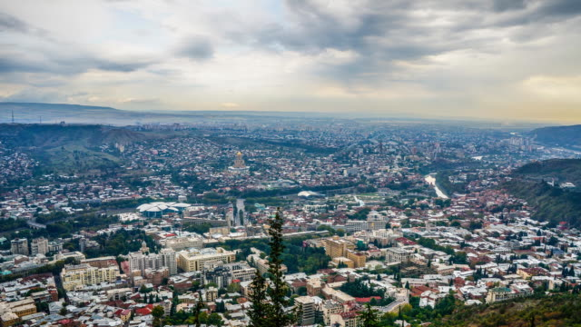 tl view on the city from the narikala fort / tbilisi, georgia - caucasus stock videos and b-roll footage