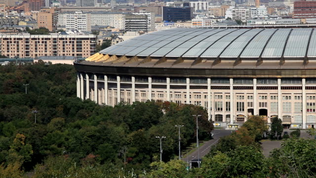 View on the Luzhniki Stadium from the observation deck on the Sparrow Hills / Russia, Moscow
