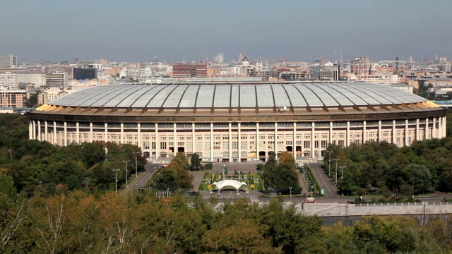 view on the luzhniki stadium from the observation deck on the sparrow hills / russia, moscow - luzhniki stadium stock videos & royalty-free footage