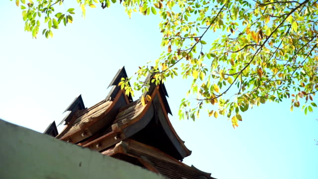 View on the old roof tiles against blue sky.