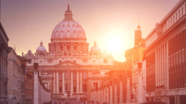 view on via della conciliazione in vatican, rome - state of the vatican city stock videos & royalty-free footage