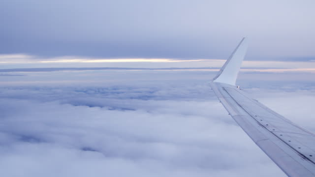 View out of plane window over clouds