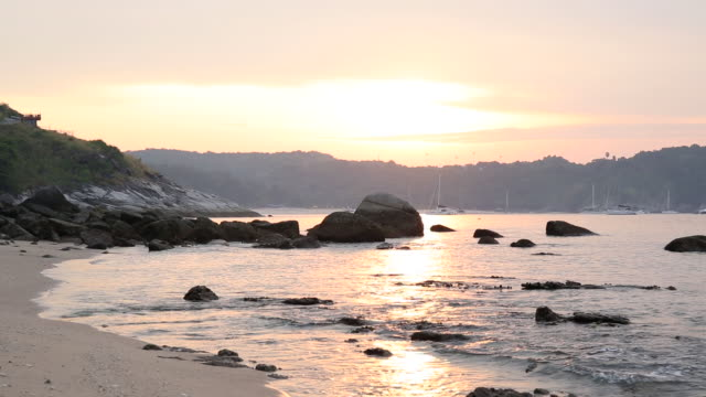 view out to sea along beach tidal flats, sunrise - tide stock videos & royalty-free footage