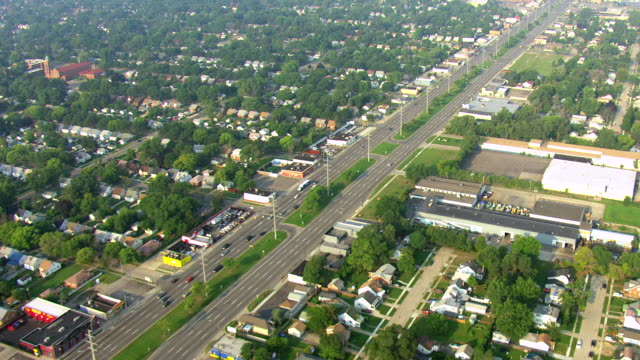 ws aerial zi view over 8 mile road / detroit, michigan, united states - detroit michigan stock videos & royalty-free footage