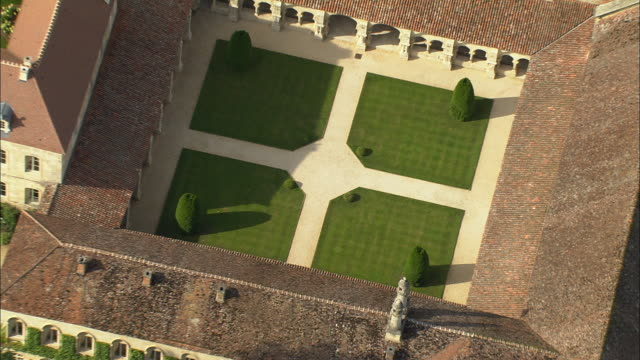 AERIAL OH MS ZO WS View over Abbey of Fontenay grounds / Montbard, Burgundy, France
