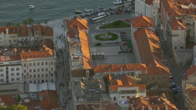 WS AERIAL View over area near coastal city / Split, Split Dalmatia County, Croatia