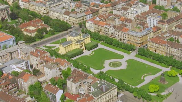 ms aerial zo view over art pavilion / zagreb, croatia - zagreb stock videos & royalty-free footage