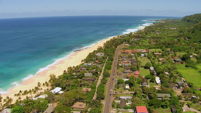 WS TS AERIAL View over Banzai Pipeline Surfing Spot on Island of Oahu / Pupukea, Hawaii, United States