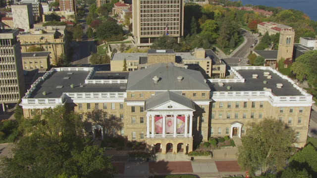 WS AERIAL TD View over Bascom Hall and Birds Eye flyover building / Madison, Wisconsin, United States