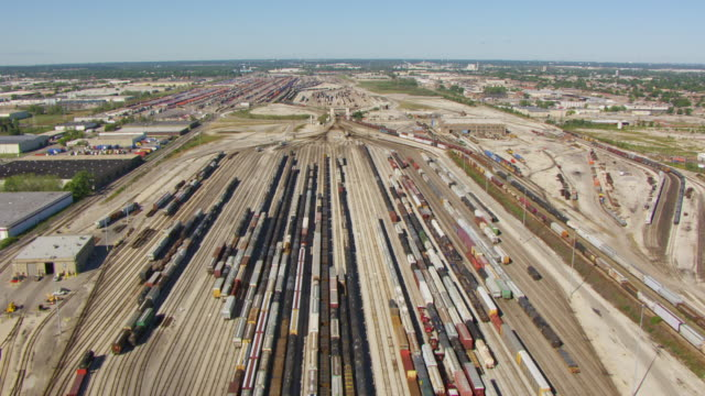 ws aerial pov view over belt railroad clearing yard / chicago, cook county, illinois, united states  - schienenverkehr stock-videos und b-roll-filmmaterial