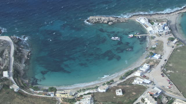 WS AERIAL ZI View over boats on harbor at breezy bay / Karpathos, Dodecanese, Greece