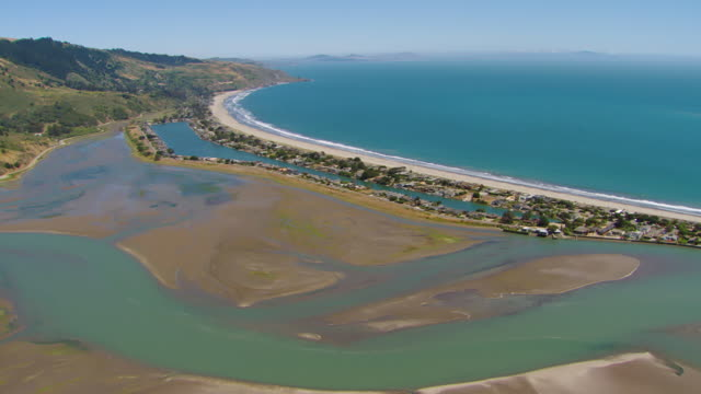 ws aerial view over bolinas lagoon and stinson beach / marin county, california, united states - marin stock videos & royalty-free footage