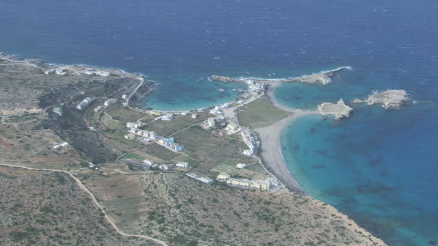 WS AERIAL View over breezy beach / Karpathos, Dodecanese, Greece