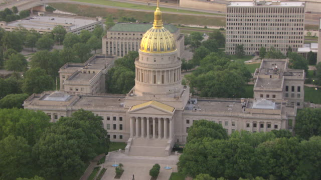 ms aerial view over capitol with gold dome / charleston, west virginia, united states - dome stock videos & royalty-free footage