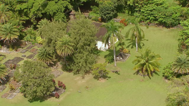 WS DS ZO AERIAL View over Charles Lindbergh church and grave site on island of Maui / Hawaii, United States