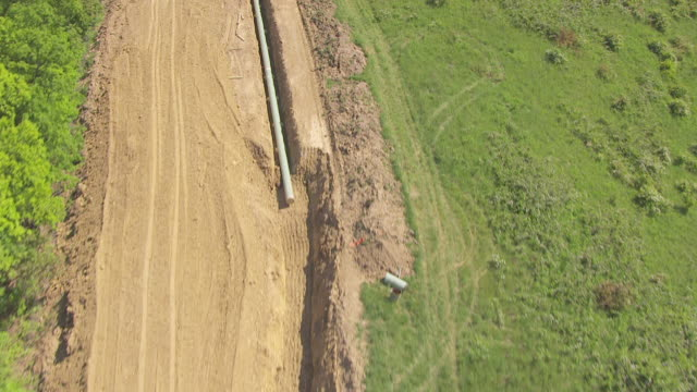 ms aerial view over chesapeak energy gas pipeline in wetzel county / littleton, west virginia, united states - pipeline stock-videos und b-roll-filmmaterial