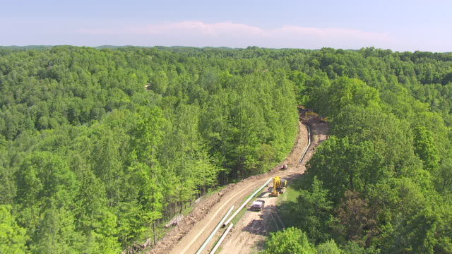 ws ts aerial view over chesapeak energy gas pipeline in wetzel county / littleton, west virginia, united states - pipeline stock videos and b-roll footage