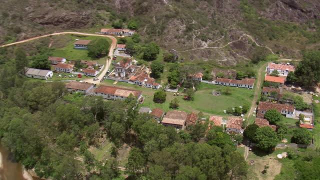 ws aerial view over church / minas gerais, brazil - minas stock videos and b-roll footage