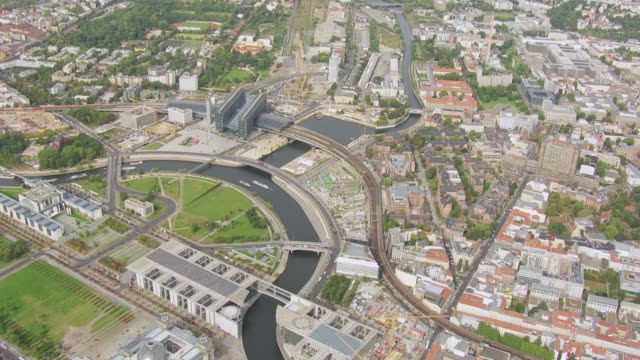 WS AERIAL View over city and main station / Berlin, Germany