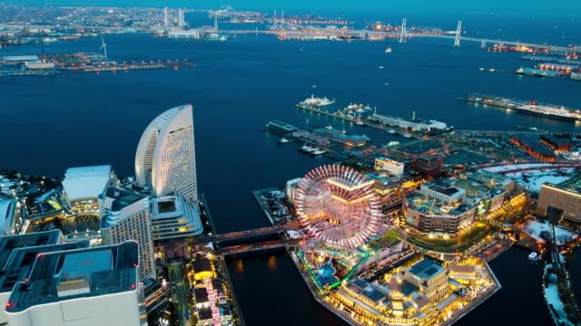 ws t/l ha view over city at night / yokohama, kanagawa, japan - yokohama stock videos and b-roll footage