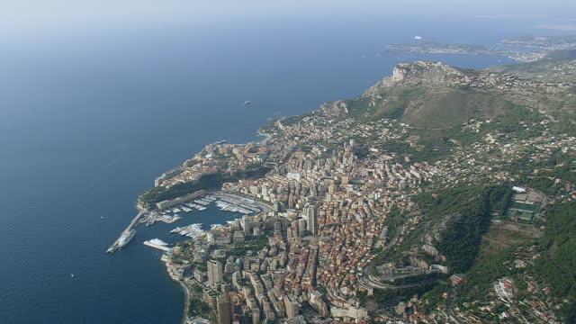 WS AERIAL View over city near coastline / Monaco, France