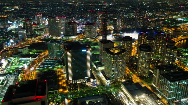 ws t/l ha view over city with busy streets at night / yokohama, kanagawa, japan - rx stock videos & royalty-free footage