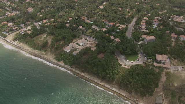 ws aerial view over coast and roof tops near ay dune du pilat / aquitaine, france - dune of pilat stock videos and b-roll footage
