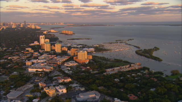 aerial ws pan view over coconut grove with miami beach in background / miami, florida, usa - grove stock videos & royalty-free footage